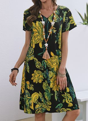 Casual Floral Tunic V-Neckline A-line Dress (146943460)