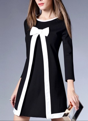 Polyester Linen Solid 3/4 Sleeves Above Knee Dresses