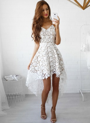 Solid Lace Skater High Low A-line Dress