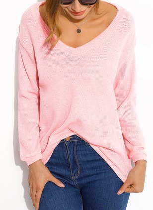 Cotton V-Neckline Solid Loose Ruffles Others Sweaters