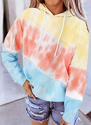 Color Block Casual Hooded Pockets Sweatshirts (107562703)