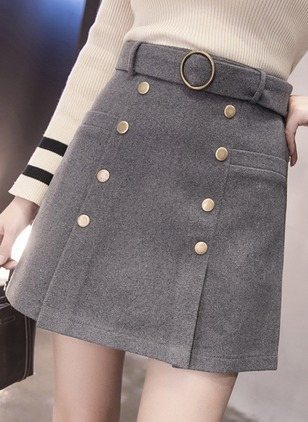 Cotton Solid Above Knee Casual Sashes Buttons Skirts