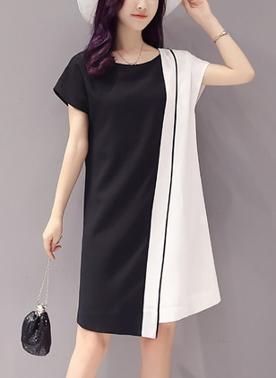 Color Block Cap Sleeve Knee-Length Shift Dress