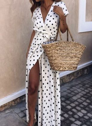 Casual Polka Dot V-Neckline Maxi X-line Dress (1516813)