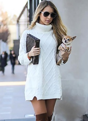 Solid Long Sleeve Above Knee Dresses