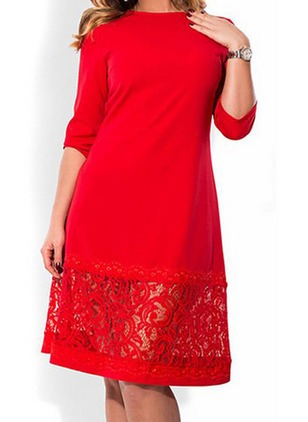 Lace Solid 3/4 Sleeves Midi Dresses