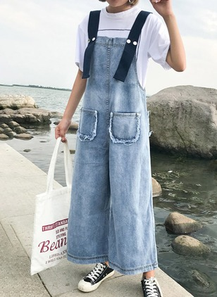Polyester Solid Sleeveless Casual Jumpsuits & Rompers