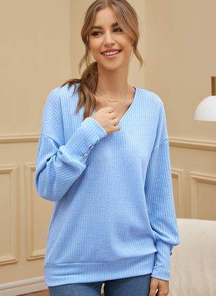 V-Neckline Solid Casual Loose Regular Buttons Sweaters (107423187)