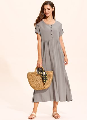 Casual Solid Buttons Tunic Shift Dress (120649074)
