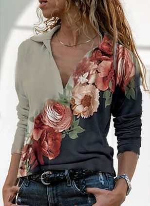 Floral Casual Square Neckline Long Sleeve Blouses (146775048)