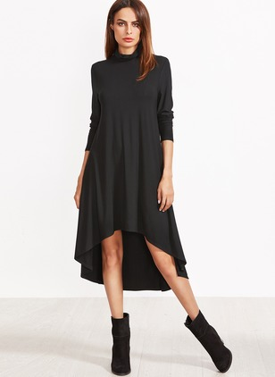 Rayon Solid Long Sleeve Above Knee Dresses