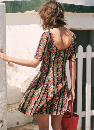 Floral Short Sleeve Above Knee X-line Dress