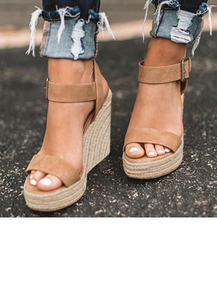 Women's Buckle Heels Leatherette Wedge Heel Sandals