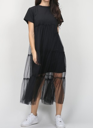 Solid Ruffles Tshirt Midi Shift Dress