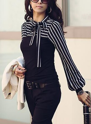 Stripe Elegant Cotton Others Long Sleeve Blouses