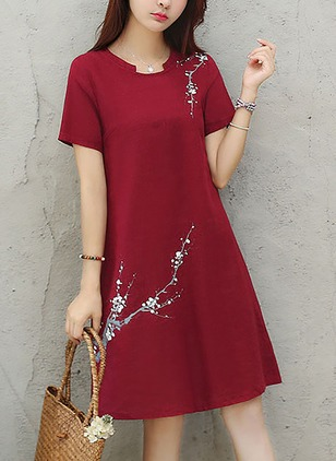 Floral Short Sleeve Knee-Length Shift Dress