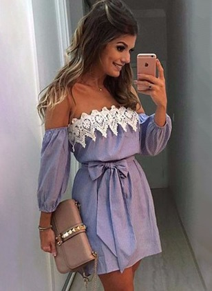 Solid Lace Wrap 3/4 Sleeves Shift Dress