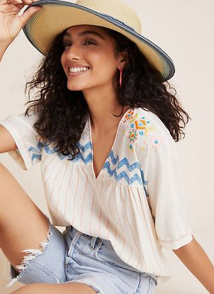 Color Block Casual V-Neckline Short Sleeve Blouses