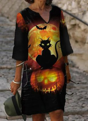 Halloween Animal Tunic V-Neckline Shift Dress (108859015)
