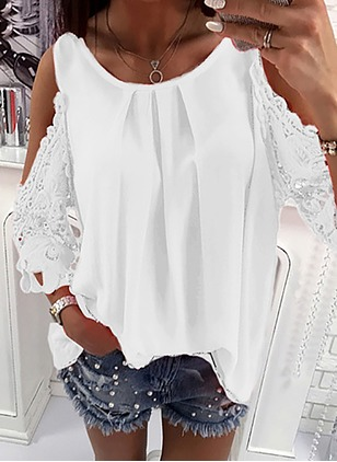Solid Casual Polyester Halter Neckline Long Sleeve Blouses