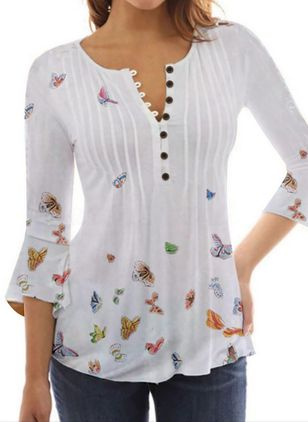 Animal Casual V-Neckline 3/4 Sleeves Blouses (146993541)
