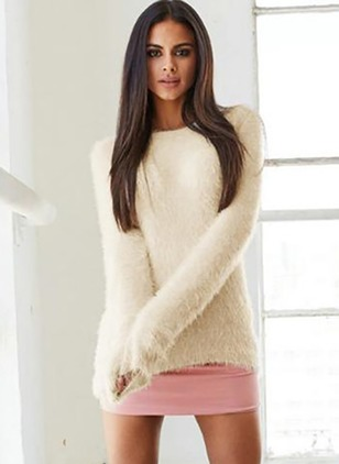 Polyester Round Neckline Solid Loose Others Sweaters