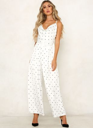 Polka Dot Sleeveless Backless Jumpsuits & Rompers