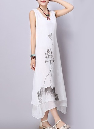 Cotton Floral Sleeveless Midi Shift Dress