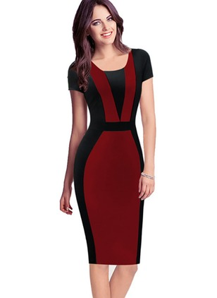 Color Block Short Sleeve Knee-Length Sheath Dress