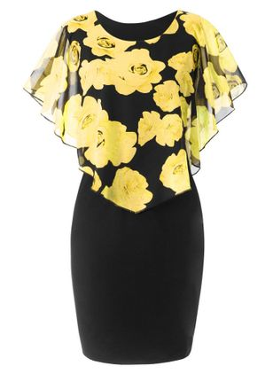 Casual Floral Wrap Pencil Sheath Dress (1509454)
