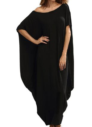 Plus Size Tunic Solid Round Neckline Casual Maxi Plus Dress (1521868)