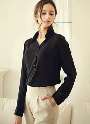 Solid Casual Chiffon Collar Long Sleeve Blouses