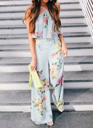 Polyester Floral Sleeveless Backless Jumpsuits & Rompers