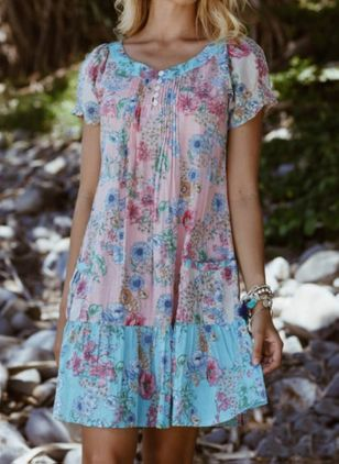 Casual Floral Tunic V-Neckline Shift Dress (4864820)