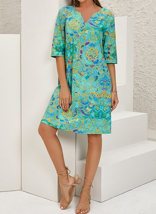 Casual Floral Tunic V-Neckline A-line Dress (122029264)
