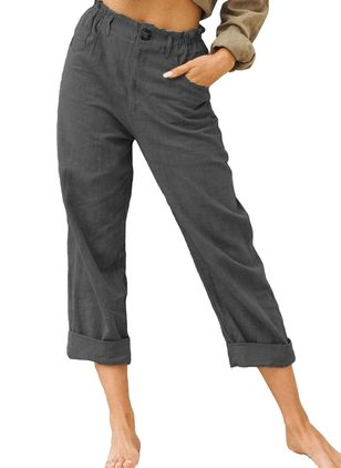 Casual Straight Pockets Mid Waist Cotton Blends Pants (131285430)