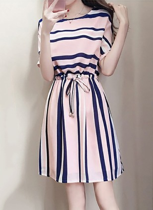 Stripe Wrap Short Sleeve A-line Dress