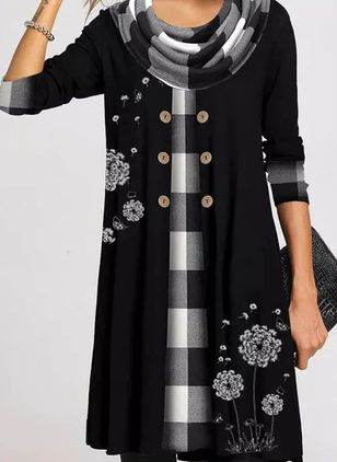 Casual Plaid Tunic Round Neckline A-line Dress (146846351)