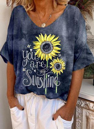 """you are my sunshine"" Floral V-Neckline Half Sleeve Casual T-shirts (146964389)"