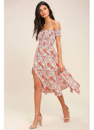 Floral Short Sleeve Midi X-line Dress