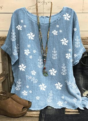 Floral Round Neck Half Sleeve Summer T-shirts (146964113)
