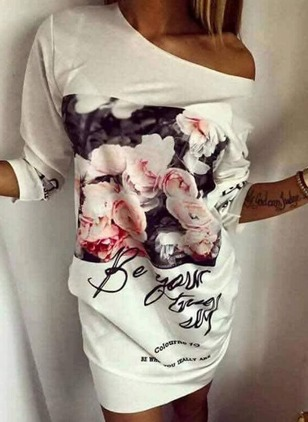 Floral Tshirt Oblique Neckline Knee-Length Shift Dress