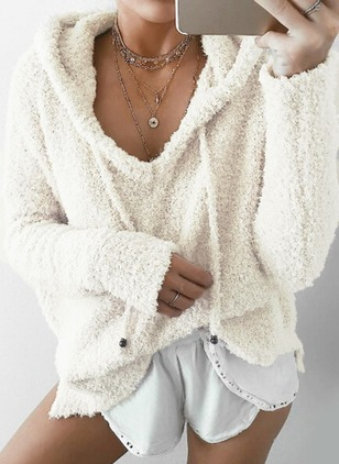 Mohair Hooded Solid Loose None Sweaters