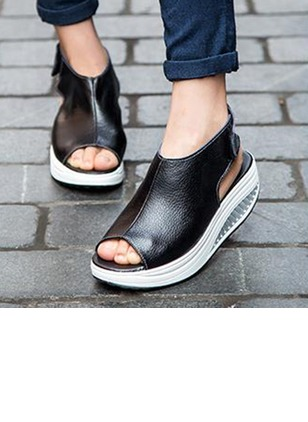 Women's Wedges Pumps Platform Closed Toe Wedge Heel Real Leather Shoes