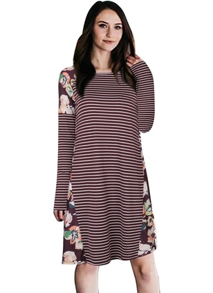 Polyester Cotton Blends Stripe Long Sleeve Midi Dresses