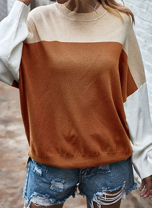 Round Neckline Color Block Casual Loose Regular Shift Sweaters (106154164)