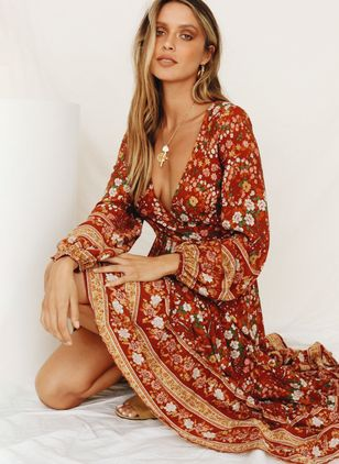 Floral V-Neckline Long Sleeve Midi X-line Dress