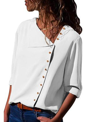 Solid Casual V-Neckline 3/4 Sleeves Blouses (4663067)