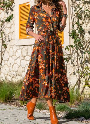 Boho Floral Shirt Collar X-line Dress (106821784)