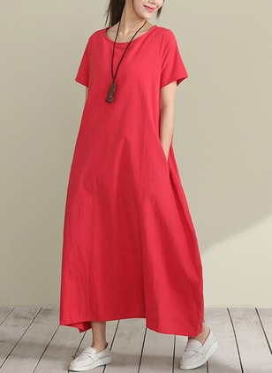 Cotton Solid Short Sleeve Maxi Dresses